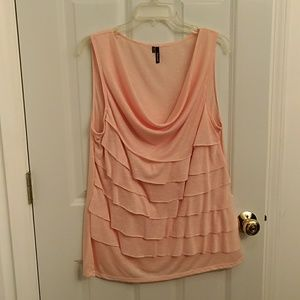 Light pink/peach folded scoop neck blouse